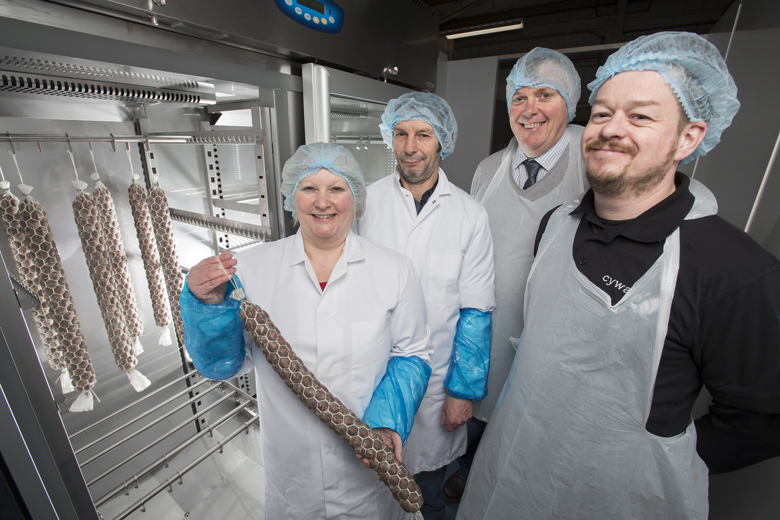 Cwm Farm Charcuterie: (Left to right) Ruth and Andrew Davies (Cwm Farm), Margam Park Manager Michael Wynne, and Rolant Tomos (Cywain)