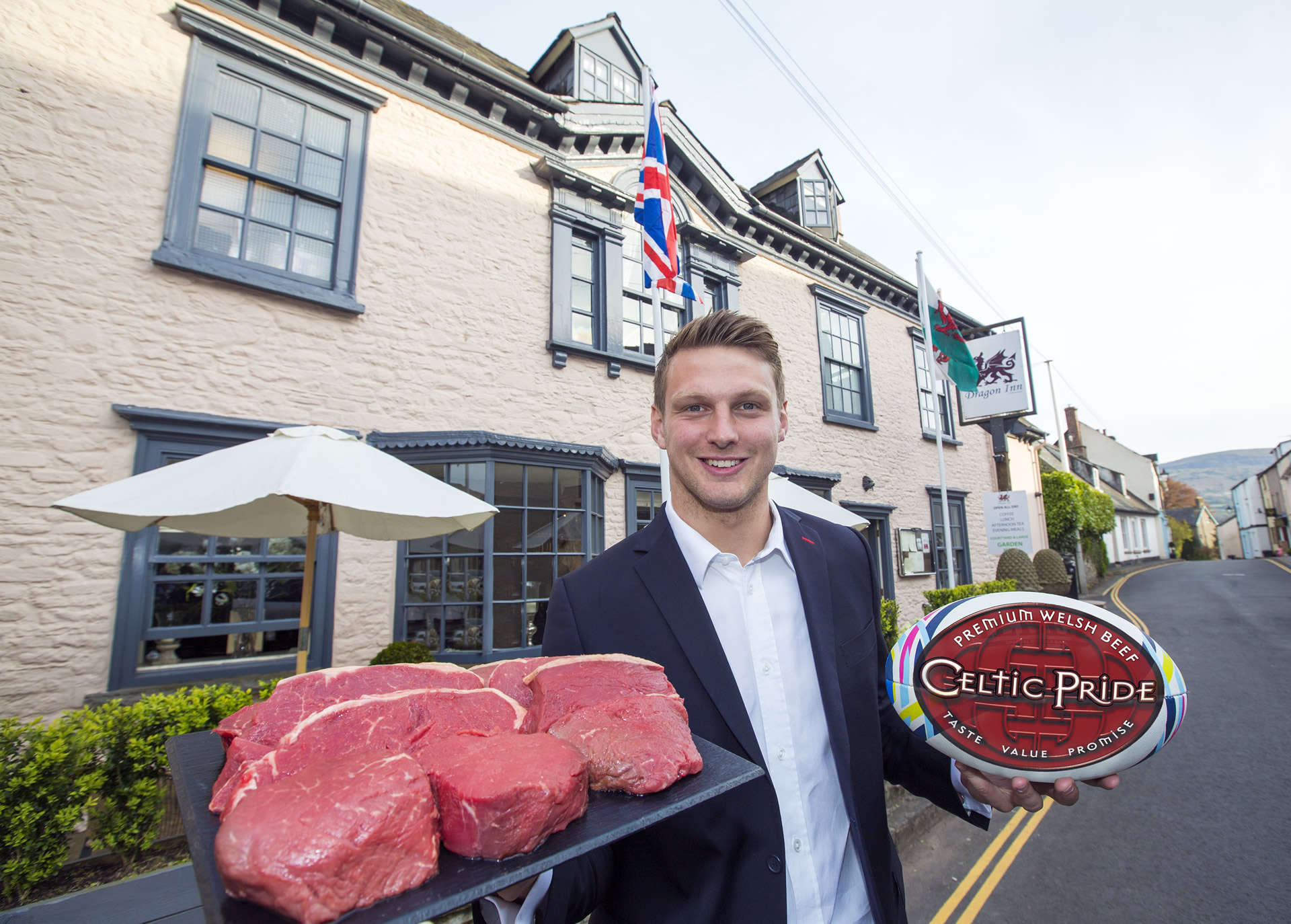 New Celtic Pride Ambassador Dan Biggar at The Dragon Inn, Crickhowell.